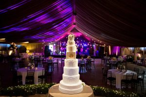 A captivating wedding cake in the reception area. Photo Credit Rae Leytham Photography